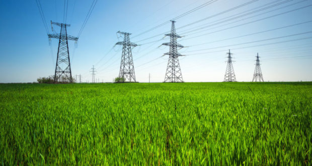 High voltage lines and power pylons in a green agricultural land